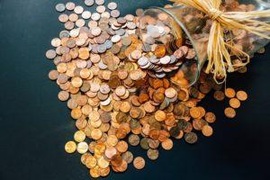 小銭があふれた写真